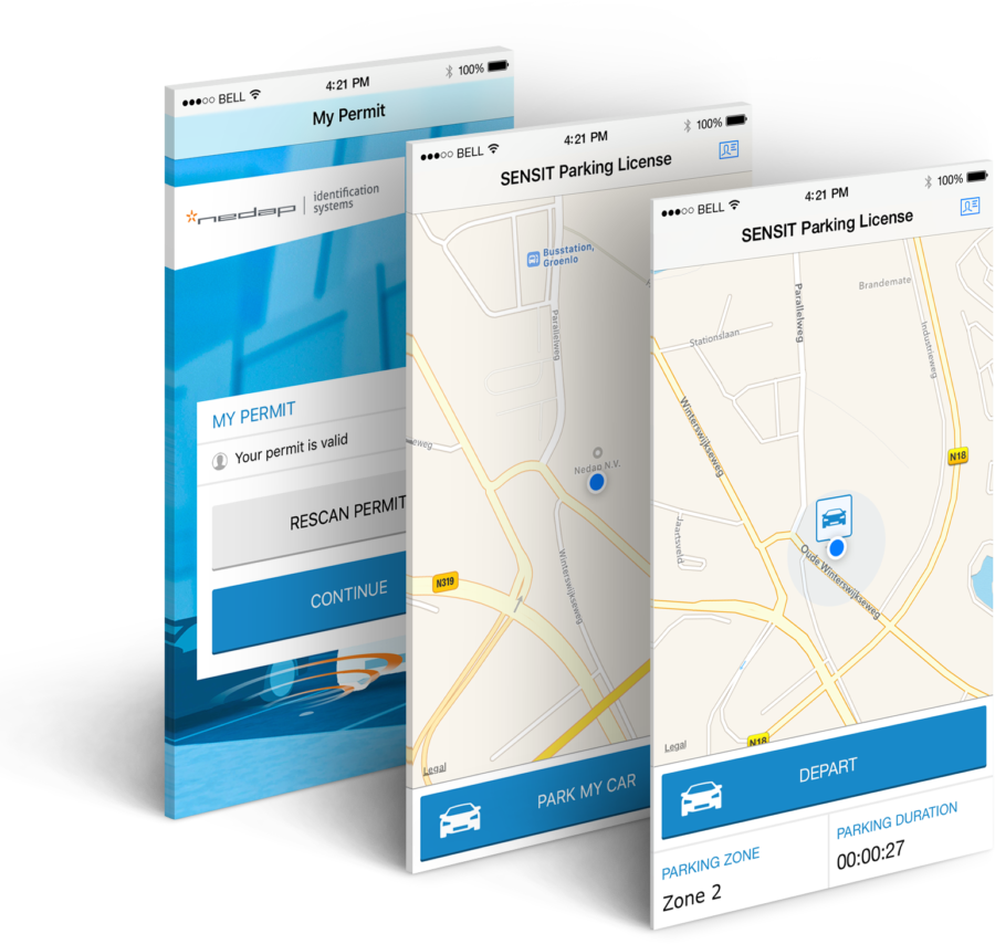 SENSIT P-License App screens